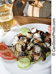 greek island taverna specialty marinated grilled octopus