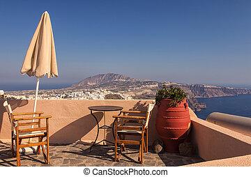 Greek island terrace