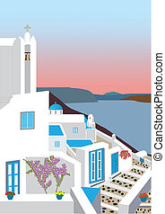 Greek Island Village - A Village in the Greek Islands at...