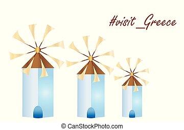 greek island windmills vector - visit greece logo