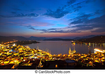 Greek islands at night, Poros, Greece, 2009
