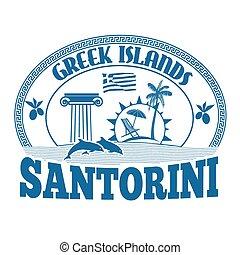 Greek Islands, Santorini, stamp or label