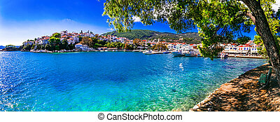 Skiathos island. view of old town and port. Northen Sporades of Greece