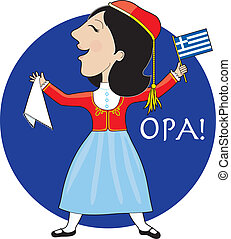 A lovely lady dancing in a Greek national costume. She is holding a Greek flag in her left hand and the traditional hankerchief for dancing in her right.
