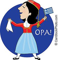 Greek Lady Dancing - A lovely lady dancing in a Greek...
