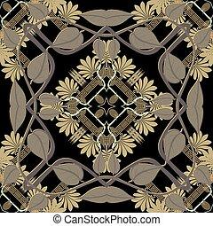 Greek leafy floral seamless patttern. Vector ornamental ...
