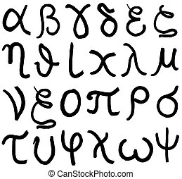 set of greece lowercase letters hand written in black ink on white background