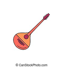 Greek musical instrument icon, cartoon style