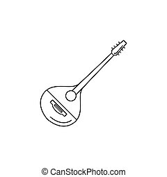 Greek musical instrument icon, outline style