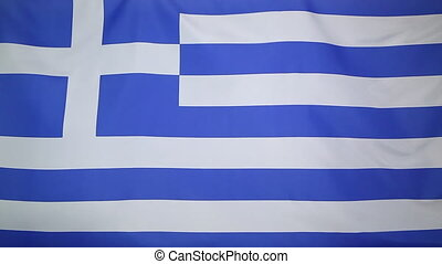 Greek national flag in the wind
