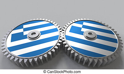 Greek national project. Flags of Greece on moving cogwheels. Conceptual 3D rendering