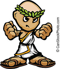 Greek or Roman Mascot with Determined Face and Toga Cartoon...