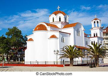 Greek orthodox Church in Paralia Katerini beach, Greece