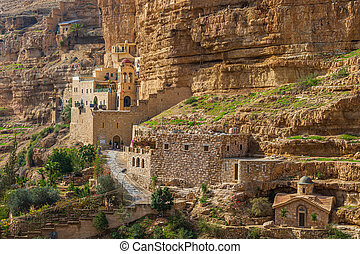Side view of the Greek Orthodox monastery of Saint George