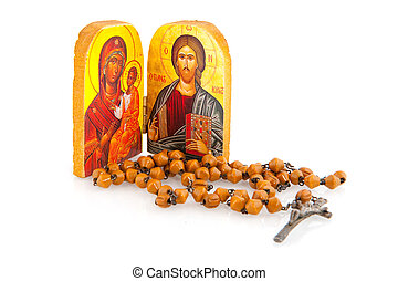 Greek orthodox religion with icon bible and rosary