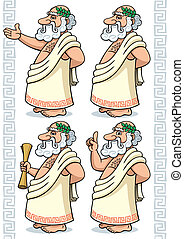 Greek Philosopher - Cartoon Greek philosopher in 4 different...