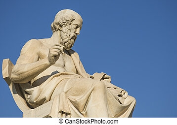 Greek philosopher Plato in front of the National Academy of...