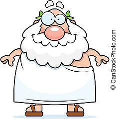Greek Philosopher Smiling - A happy cartoon Greek...