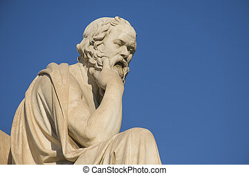 Greek philosopher Socrates in front of the National Academy of Athens