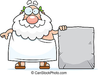 Greek Philosopher Tablet - A happy cartoon Greek philosopher...
