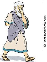 Greek philosopher thinking - A greek philosopher is in his...
