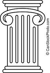 Greek pillar icon, outline style