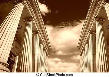 Greek pillars - Picture of large greek freestone columns .