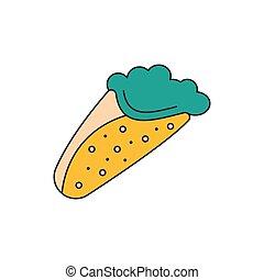Greek pita icon, cartoon style