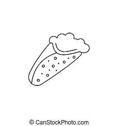 Greek pita icon, outline style