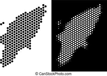 Greek Rhodes Island Map Hexagon Mosaic