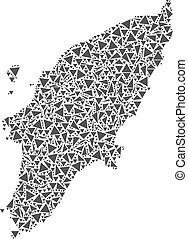Greek Rhodes Island Map of Triangles