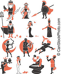 Set of Greek / Roman gods over white background. No transparency and gradients used.