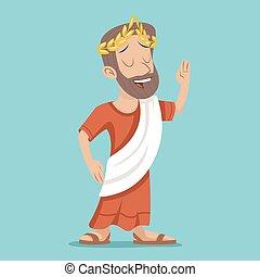 Greek Roman Retro Vintage Businessman Cartoon Character Icon on Stylish Background Design Vector Illustration