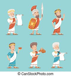 Greek Roman Retro Vintage Character Icon Set Cartoon Design Vector Illustration
