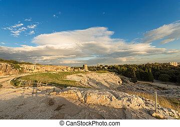 Greek Roman Theater in Syracuse - Sicily Italy