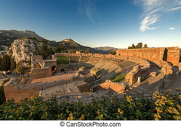 Greek Roman Theater in Taormina - Sicily Italy