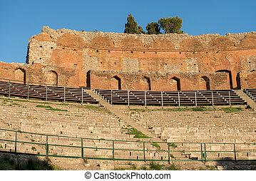 Greek Roman Theater in Taormina - Sicily Italy - Detail of...