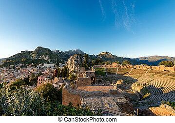 Greek Roman Theater in Taormina - Sicily Italy - Ancient...