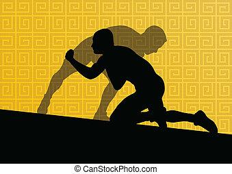 Greek roman wrestling active men sport silhouettes vector abstract background illustration