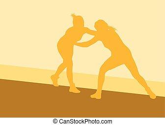 Greek roman wrestling woman fight vector