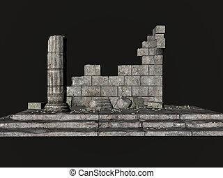 Greek Ruins - Greek ruins over black