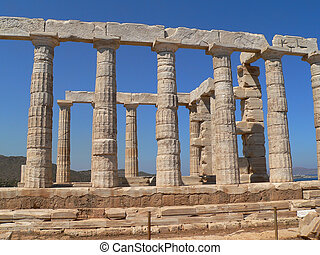 greek ruins - the temple of psidon in sounion near athens in...