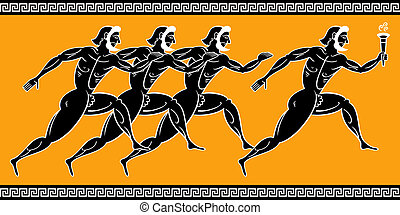 Greek runners - Ancient greek runners with torch