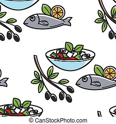 Greek salad and fish olives branch Greece cuisine seamless pattern