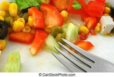 Greek salad and fork