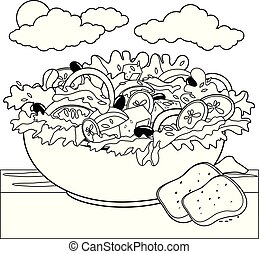 Greek salad. Black and white coloring book page