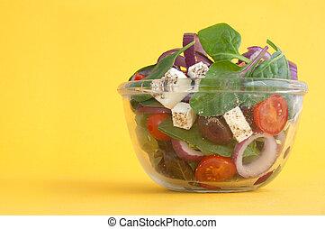 Greek salad bowl closeup