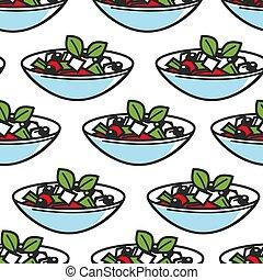 Greek salad dish seamless pattern Greece cuisine