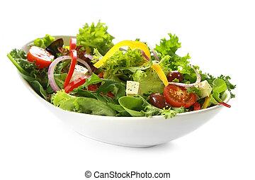 Greek Salad - Greek salad in stylish white bowl, isolated on...
