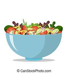 Greek salad icon on white background.